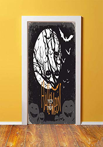 Vintage Halloween 3D Door Sticker Wall Decals Mural Wallpaper,Halloween Themed Image with Full Moon and Jack o Lanterns on a Tree Decorative,DIY Art Home Decor Poster Decoration 30.3x78.15169,Black -