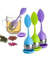 Loose Leaf Tea Infuser - Silicone Handle Tea Infuser Stainless Steel Strainer for Tea Pot, Mug - Loose Tea Steeper - Tea Diffuser for Loose Tea, Fennel Tea, Herbal Tea 3 Set - Green/Blue/Purple