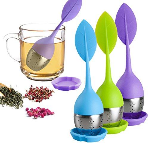 Loose Leaf Tea Infuser - Silicone Tea Infuser Stainless Steel Strainer for Tea Pot, Mug - Filter for Steeping Loose Tea Steeper, Teapot, Tea Cups, Fennel Tea, Herbal Tea 3 Set - Green/Blue/Purple