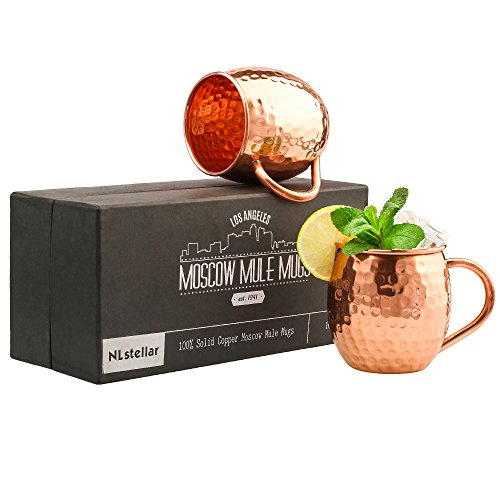 NLstellar Moscow Mule Copper Mugs – 100% Pure Copper – 2 Mugs (16-oz) in Gift Box – The Best Hammered Barrels for Cocktails  Cold Drinks – Stylish Gi…