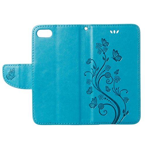 Mobile protection Para el iPhone 7 presionó la caja de cuero horizontal del tirón de las flores con las ranuras y la carpeta del sostenedor y de la tarjeta, pequeña cantidad recomendada antes del lanz Blue