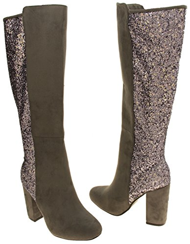 High Womens Grey Knee Divine Boots Length Heeled Glitter xSw7F6aSq