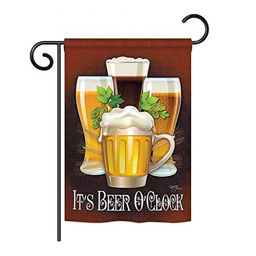 (Breeze Decor G167028 It's Beer O'Clock Happy Hour & Drinks Beverages Decorative Vertical Garden Flag, 13