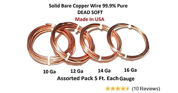 Amazon.com: Copper Wire Dead Soft 10, 12, 14, 16 Ga - 4 Assorted ...