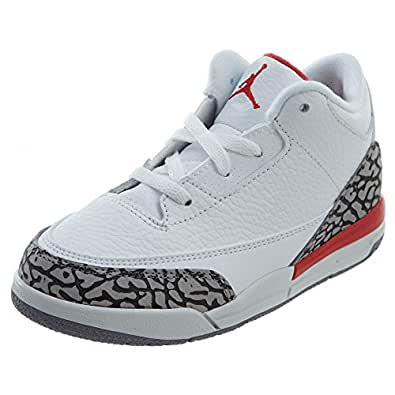 "Amazon.com | NIKE Jordan Retro 3"" Katrina White/Fire Red"