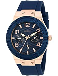 GUESS Women's Stainless Steel Silicone Casual Watch, Color: Rose Gold-Tone/Rigor Blue (Model: U0571L1)