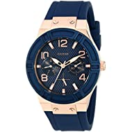 Women's Stainless Steel Silicone Casual Watch, Color: Rose Gold-Tone/Rigor Blue (Model: U0571L1)