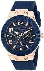 GUESS Women's U0571L1 Analog Quartz Blue Multi-Function Silicone Strap Watch
