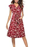 LECCECA Women's Summer Spaghetti Strap Flattering A-Line Sundress Button Down Swing Midi Dress with Pockets (Red 2, M)