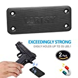 LIRISY 2-Pack Gun Magnet Mount | Rubber Coated Magnetic Gun Holder Truck Car Holster Concealed for Handgun Rifle Pistol Revolver Magazine in Vehicle, Wall, Vault, Bed,Bedside, Desk with 35 lb Rating