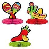 Amscan Fiesta Cinco de Mayo Assorted Mini Honeycomb Centerpiece Decoration (9 Piece), Multi Color, 7 x 5.5''