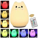 Children Night Light, Elfeland Remote Control LED Cute Silicone Cat Lamp 12+1 Colors/6