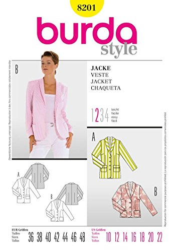 Burda Sewing Pattern 8201 - Misses' Jacket, Fitted Size (10-12-14-16-18-20-22) ()