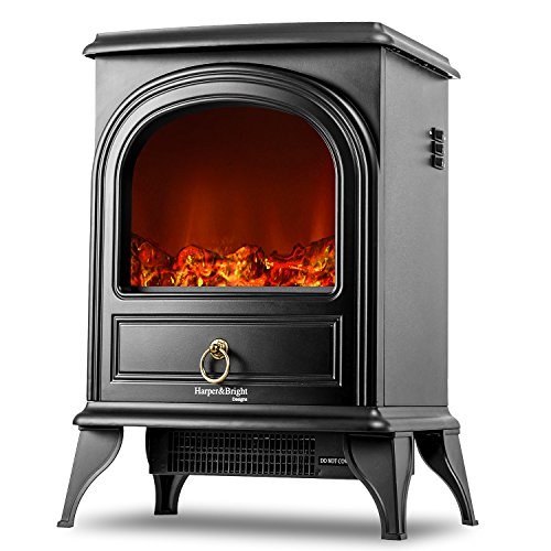 Harper & Bright Designs Electric Fireplace Stove Heater Portable Fireplace (black) Review