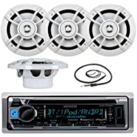 Great New Kenwood Marine Boat Yacht Outdoor Bluetooth Stereo CD MP3 Player USB iPod iPhone Pandora AM/FM Reciver, 4 X Kenwood 6.5 Inch Waterproof Speakers Enrock Antenna - Marine Audio Kit