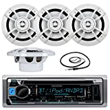 Great New Kenwood Marine Boat Yacht Outdoor Bluetooth Stereo CD MP3 Player USB iPod iPhone Pandora AM/FM Reciver, 4 X Kenwood 6.5'' Inch Waterproof Speakers Enrock Antenna - Marine Audio Kit