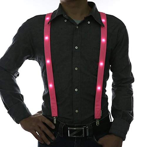 Party Supplies,Glowseen Light up Glowing Clip on Adjustable Suspenders for Party Costume-Pink -