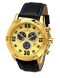 Porsamo Bleu Cancun Genuine Leather Gold Tone, Black & Blue Men's Watch 061BCAL