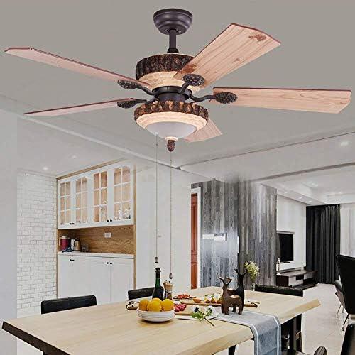Ventilador de techo rústico con 1 cubierta de luz LED para ...