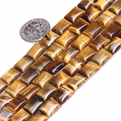 "Yellow Tiger Eye Beads for Jewelry Making Natural Gemstone Semi Precious 7x9mm Rectangle 15"" JOE FOREMAN"