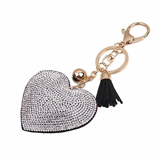 Key Chain, FTXJ Love Rhinestone Tassel Keychain Key Ring