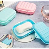 VNDEFUL 2 Pieces Plastic Soap Case Holder Container Box,Waterproof Travel Portable Soap Dish Soap