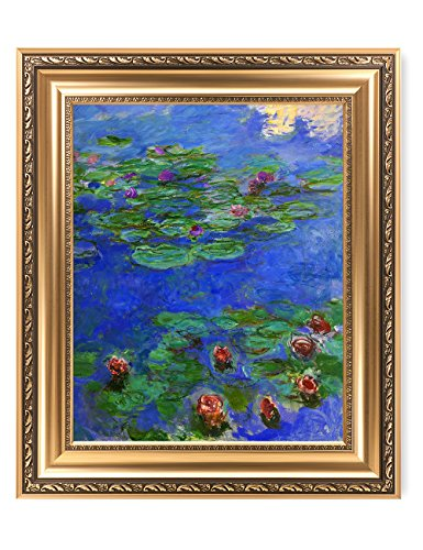 DECORARTS - Water Lilies Red Claude Monet Art Reproduction. Giclee Print& Museum Quality Framed Art for Wall Decor.Framed Size: 26x22
