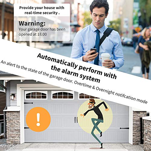 Black Model WiFi Smart Garage Door Opener Controller Smart Life Tuya APP Wireless Remote Control from Anywhere Compatible with Alexa Google Assistant No hub Required