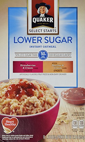 Quaker Instant Oatmeal, Low Sugar Fruit & Cream Variety Pack, Breakfast Cereal, 10 Packets Per Box (Pack of 4) by Quaker (Image #1)'