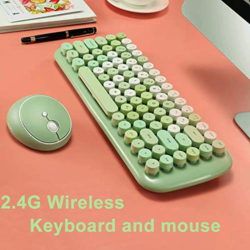 Wireless Keyboard Mouse,Onlywe Mini 2.4G Wireless Round Punk Cute Candy Colors Keyboard and Optical Mouse Set Home Office Use Compatible with Notebook,Desktop,Mac,Win XP/7/8/10 (Green Keyboard Mouse)