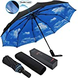 ESUFEIR 10 Ribs Umbrella,Golf Umbrella Large Windproof Umbrella, Compact Auto Open Close Travel Umbrella with Double Layer Design, Sturdy UV Protection Waterproof Umbrella (Blue Sky)