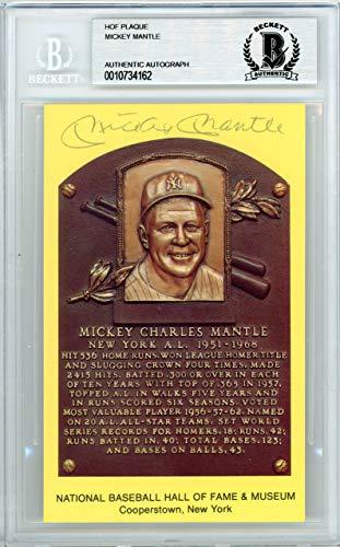 Mickey Mantle Signed HOF Plaque Postcard New York Yankees Memorabilia Beckett Authentic