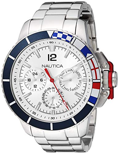 Nautica Men's Bay Ho Multi Japanese-Quartz Watch with Stainless-Steel Strap, Silver, 19.9 (Model: NAPBHP907