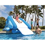 kids inflatable water slide for pool and poolside splash fun water toy allows for all day swimming and diving works for in or above ground pool - Inflatable Pool Slide
