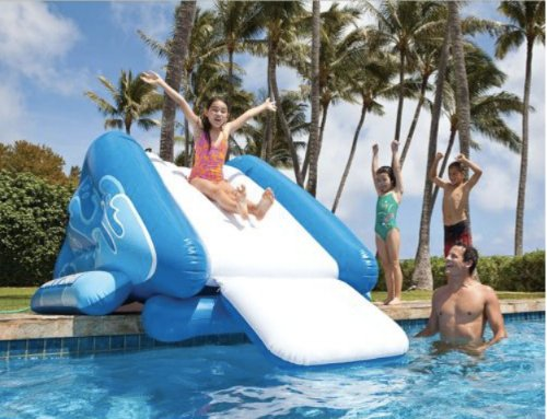 Plunge Pool (Kids Inflatable Water Slide for Pool and Poolside Splash Fun. Water Toy Allows for All Day Swimming and Diving. Works for In or Above Ground Pool. Made of Bounce House Material. Banzai Style Sliding Slip and Slide Outdoor Party.)