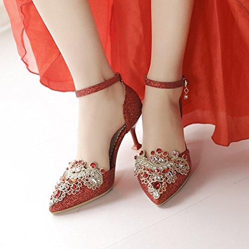 Rojo Artificial Alto de Primavera tamaño de 33 Color de Señoras 34 Aguja Tacón de Otoño de 48 Rhinestone Verano Mujer Hueco tacón 2018 Sandalias PU Moda Novia Zapatos 6X4EFq7