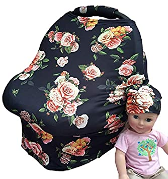 Rosy Kids Stretchy Infant Car Seat Canopy Cover Color08JY06 Jersey Car Seat Cover Elastic Nursing Scarf Privacy Cover with Matching Car Seat Handle Cover and Baby Hat