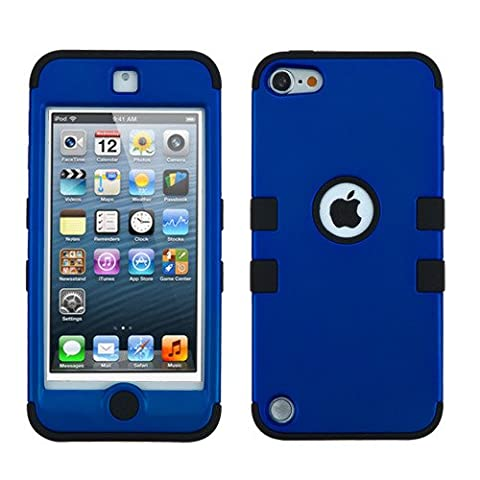 iPod Touch 5th and 6th Generation Case, Heavy Duty Tough 3 Piece Layer Combo Hybrid Armor Hard Rubberized Shell Snap On Exterior and Lightning Soft Silicone Rubber Interior Protector Cover by MEGATRONIC - Dark Blue/Black [With FREE Touch Screen Stylus (Waterproof Ipod 4 Case Yellow)