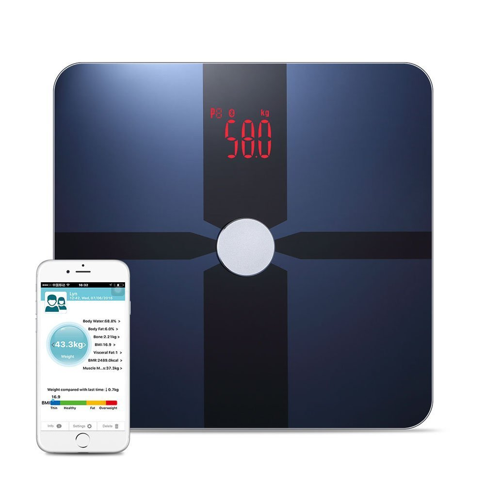 Bathroom Digital Scale,Smart Bluetooth Body Fat Scale Including Body Weight, Body Water, Body Fat, BMI, BMR(KCAL), Smart Bluetooth Body Fat Scale Muscle Mass, Bone Mass and Visceral Fat (Blue) Innerteck
