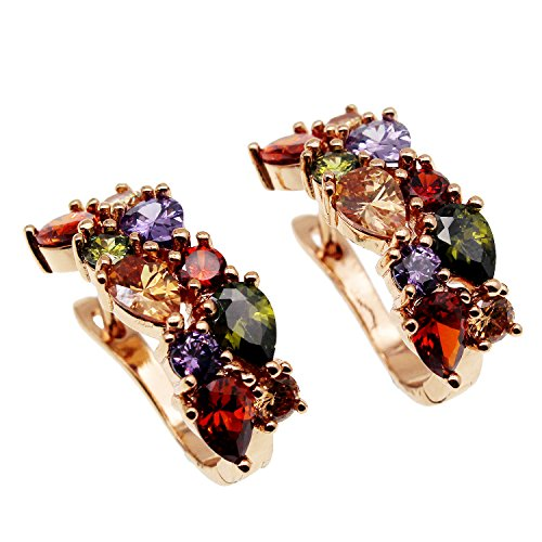Multi Gemstone Earring Amethyst Garnet Morganite Peridot Promise Wedding Party Earrings (Rose Gold Color-B)
