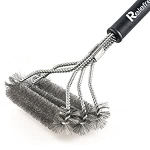 """Relefree Clean Grill Brush–18""""mejor barbacoa cepillo–3Pinceles de acero inoxidable en 1proporciona sin esfuerzo cleaning- Stiff Peso ligero diseño–perfecto para Weber, Char-Broil, Porcelana y parrillas de infrarrojos"""