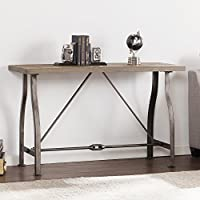 Southern Enterprises Jacinto Industrial Media Console Table, Weathered Russet with Distressed Gray Finish