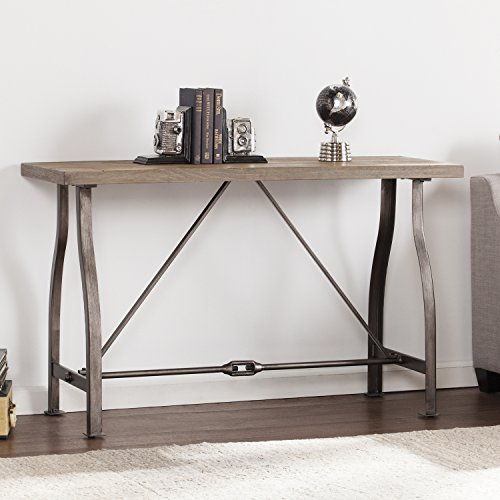 (Southern Enterprises Jacinto Industrial Media Console Table, Weathered Russet with Distressed Gray Finish)