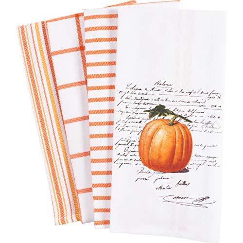 KAF Home Pantry Kitchen Dish Towel Set of 4, 100-Percent Cotton, 18 x 28-inch (Pumpkin Words) by KAF Home