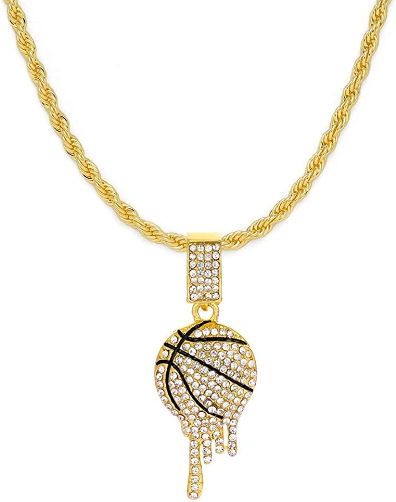HH Bling Empire Mens Iced Out Hip Hop 14K Gold Artificial Diamond NBA Basketball Related Pendant cz Tennis Chain Necklace 22 Inch
