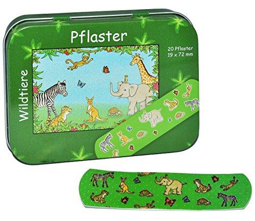 20 Pflaster mit Wildtiere - Motiv in Metall Box - Pflasterbox Dose bunt Kinderpflaster Zootiere Elefant Giraffe Affe Tiger - für Kinder und Erwachsene Mädchen Jungen
