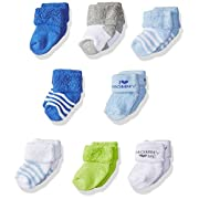 Luvable Friends Unisex 8 Pack Newborn Socks, Blue/Mommy, 0-6 Months
