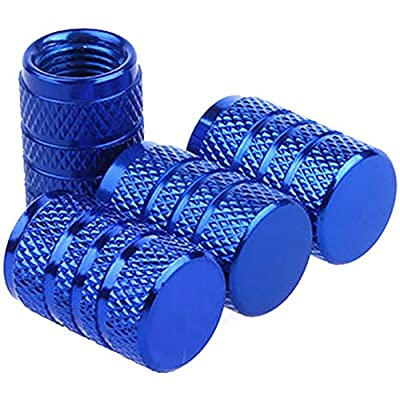 cicisame 4pcs/Set Aluminum Tyre Tire Wheel Rims Stem Air Valve Caps Cover Car Truck (Blue): Garden & Outdoor