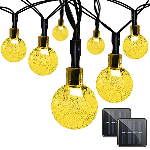 Binval Solar String Lights for Outdoor Patio Lawn Landscape Garden Home Wedding Holiday Decorations[19.7feet - 6m - 30LED-Warm White 2-Pack] by Binval