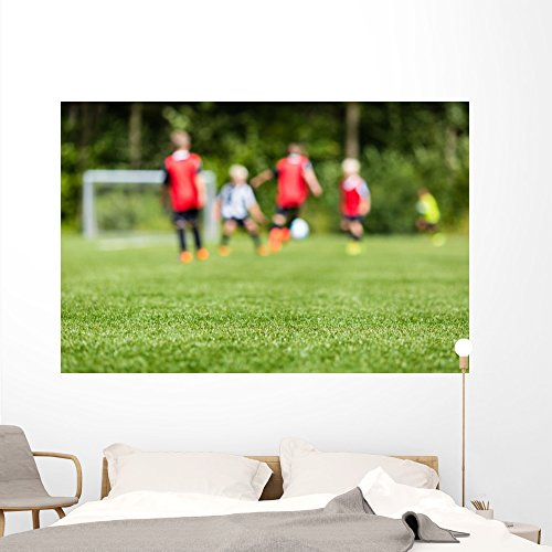 Kids Soccer Blur Wall Mural Decal by Wallmonkeys | Peel and Stick Graphic | 72
